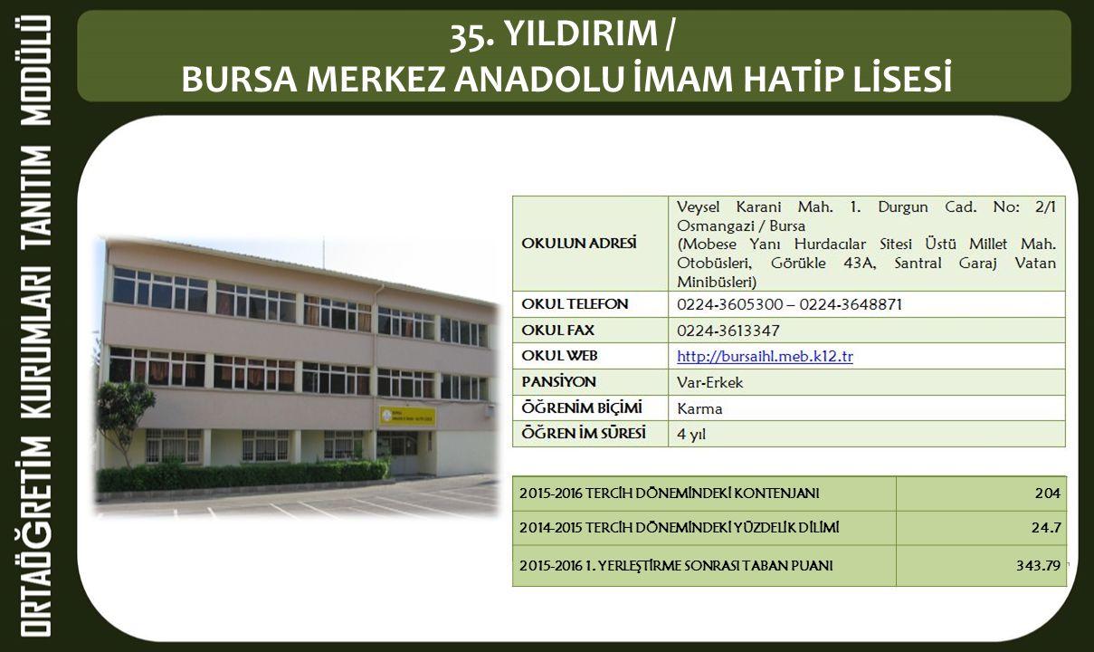 35. YILDIRIM / BURSA MERKEZ ANADOLU İMAM HATİP LİSESİ