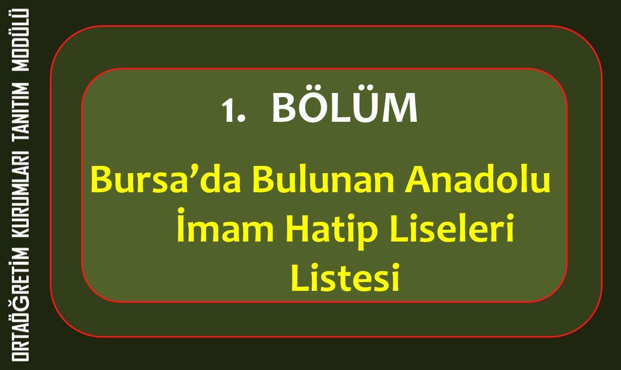 Bursa'da Bulunan Anadolu İmam Hatip Liseleri Listesi