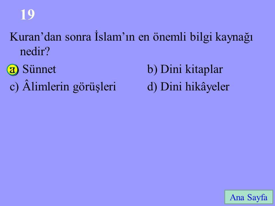 19 Kuran'dan sonra İslam'ın en önemli bilgi kaynağı nedir