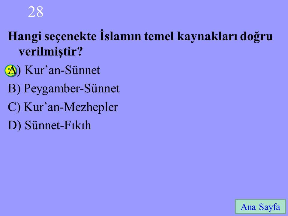 28 Hangi seçenekte İslamın temel kaynakları doğru verilmiştir