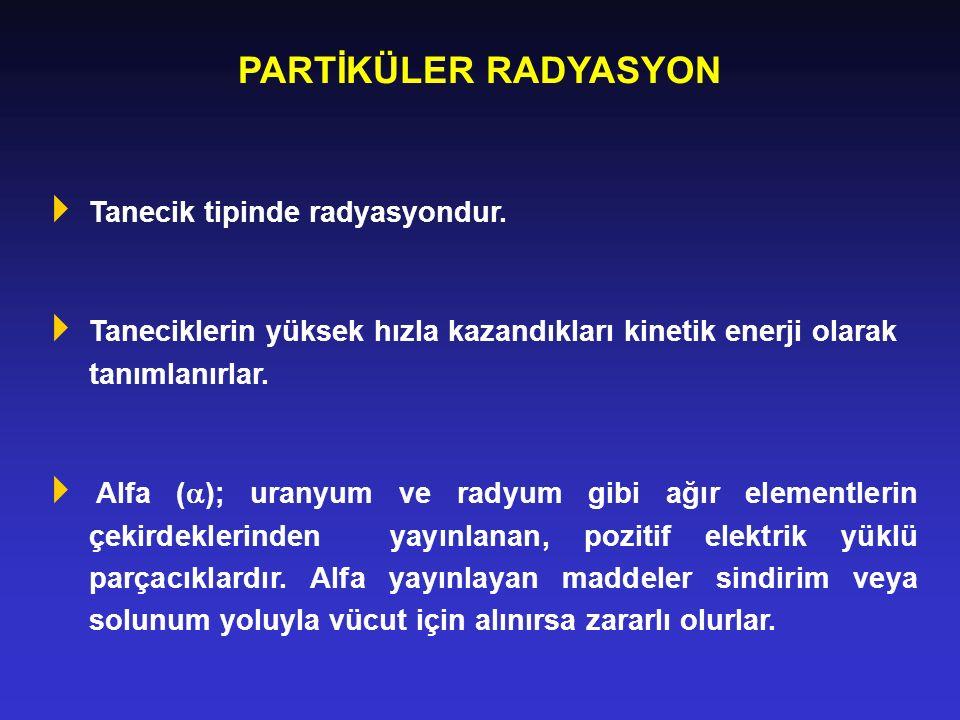 PARTİKÜLER RADYASYON Tanecik tipinde radyasyondur.
