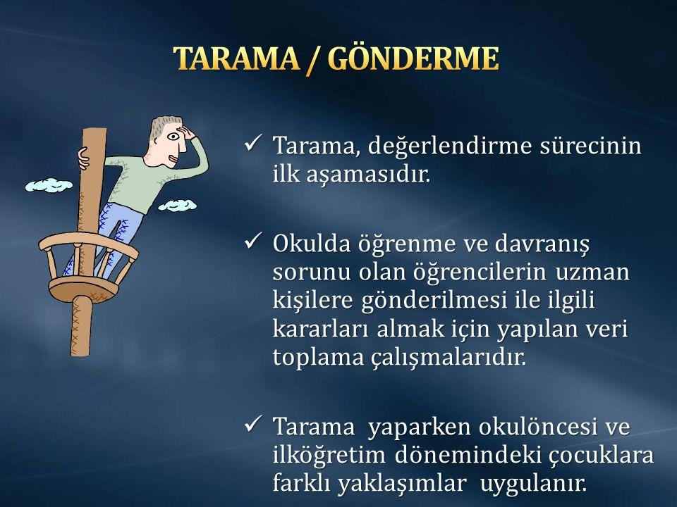 TARAMA / GÖNDERME Tarama, değerlendirme sürecinin ilk aşamasıdır.