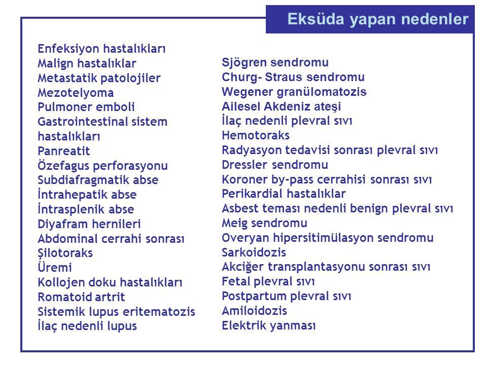 Eksüda yapan nedenler Enfeksiyon hastalıkları Malign hastalıklar