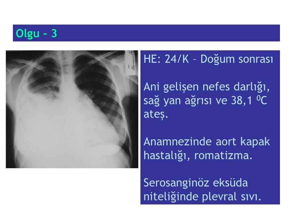 Olgu - 3 HE: 24/K – Doğum sonrası. Ani gelişen nefes darlığı, sağ yan ağrısı ve 38,1 0C ateş. Anamnezinde aort kapak hastalığı, romatizma.