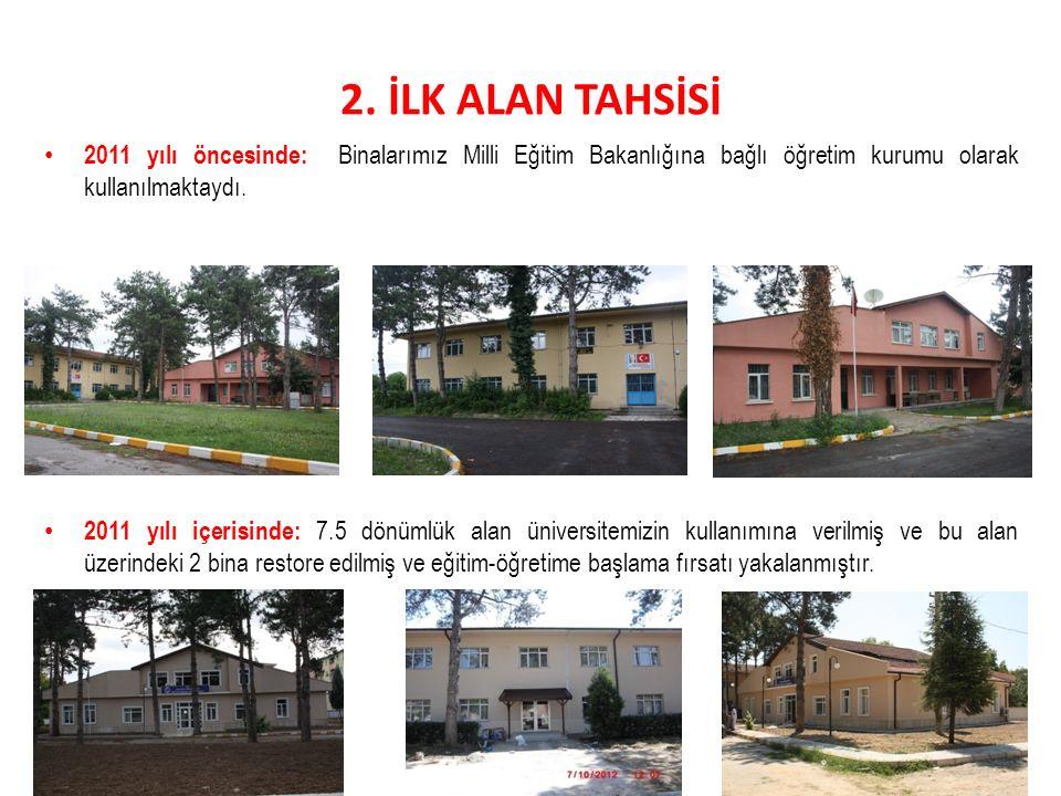 2. İLK ALAN TAHSİSİ 2011 yılı öncesinde: Binalarımız Milli Eğitim Bakanlığına bağlı öğretim kurumu olarak kullanılmaktaydı.