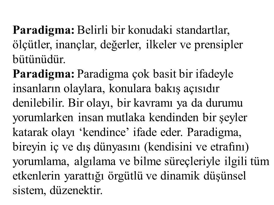 Paradigma: Belirli bir konudaki standartlar, ölçütler, inançlar, değerler, ilkeler ve prensipler bütünüdür.