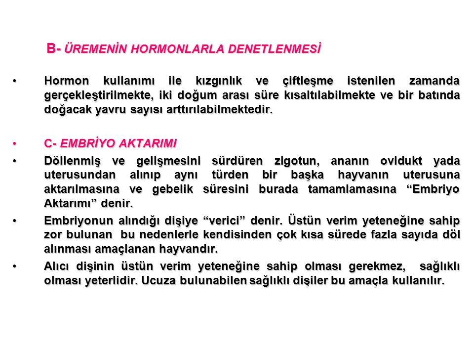 B- ÜREMENİN HORMONLARLA DENETLENMESİ