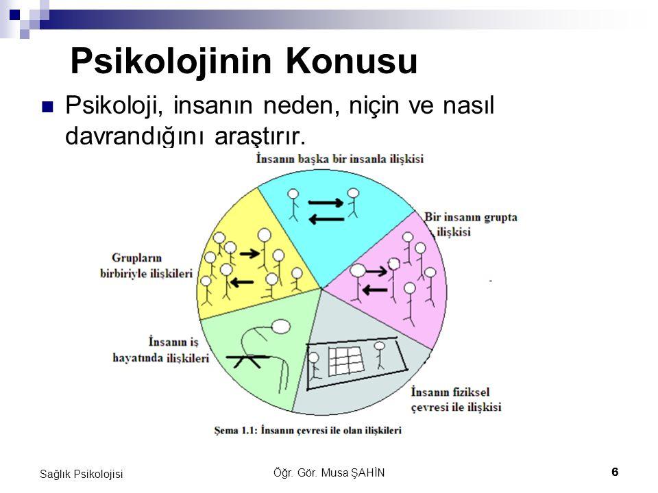 Psikolojinin Konusu Psikoloji, insanın neden, niçin ve nasıl davrandığını araştırır. Sağlık Psikolojisi.