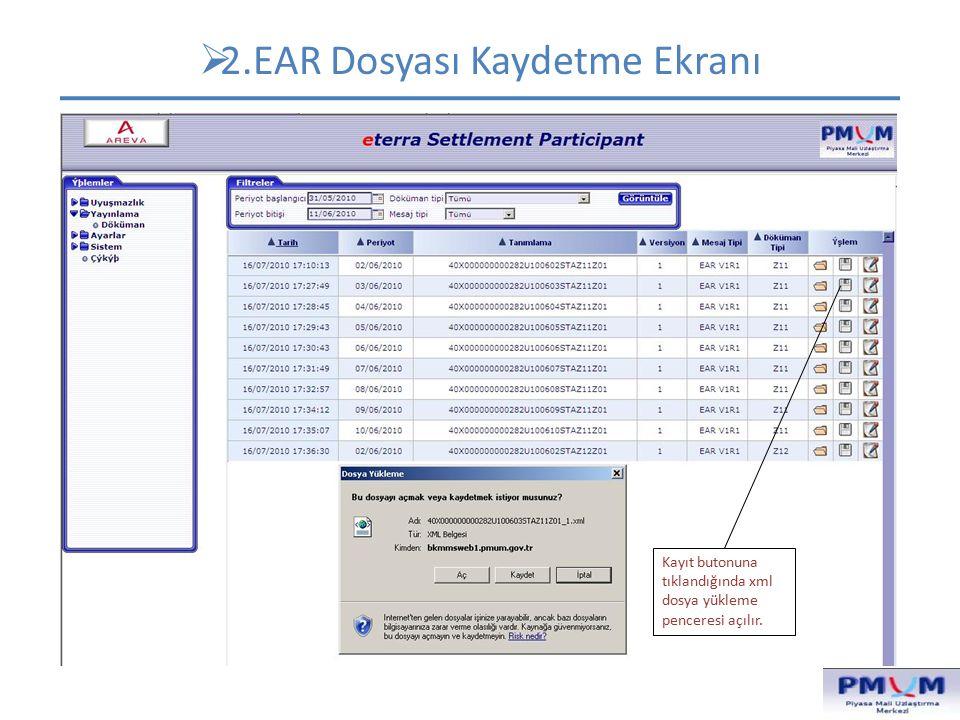 2.EAR Dosyası Kaydetme Ekranı