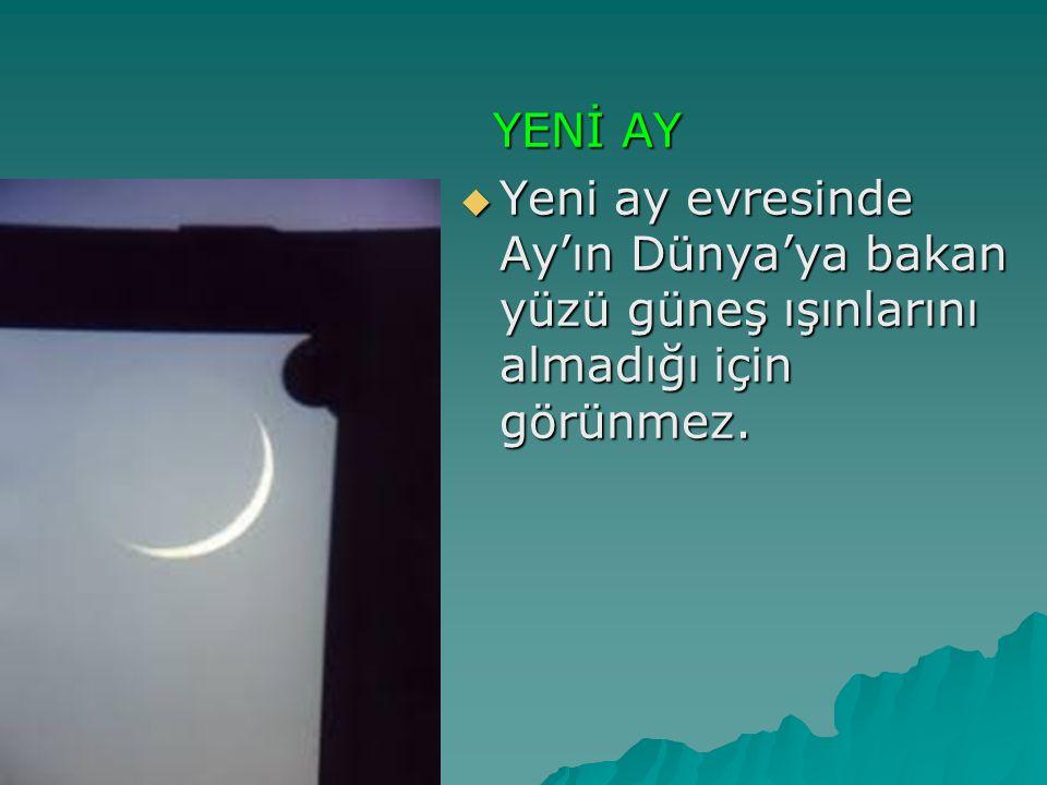 YENİ AY Yeni ay evresinde Ay'ın Dünya'ya bakan yüzü güneş ışınlarını almadığı için görünmez.