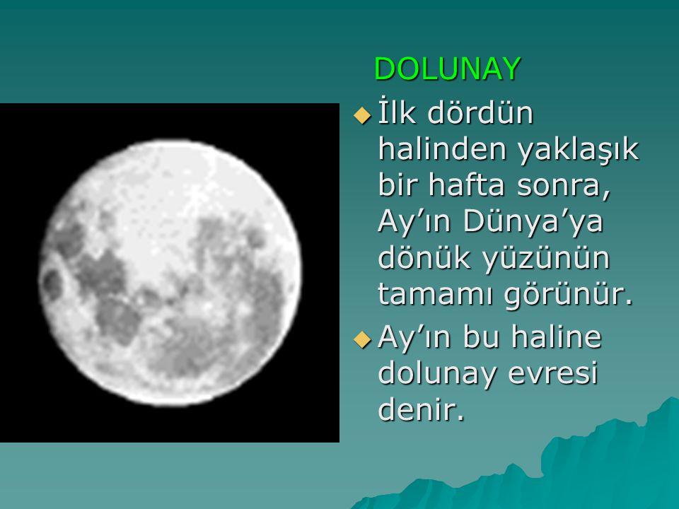 DOLUNAY İlk dördün halinden yaklaşık bir hafta sonra, Ay'ın Dünya'ya dönük yüzünün tamamı görünür.