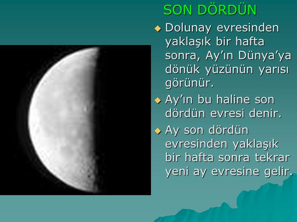 SON DÖRDÜN Dolunay evresinden yaklaşık bir hafta sonra, Ay'ın Dünya'ya dönük yüzünün yarısı görünür.