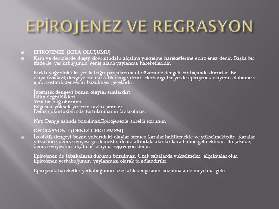 EPİROJENEZ VE REGRASYON