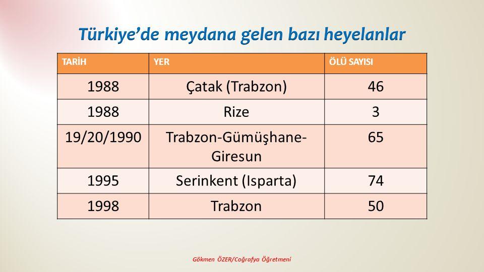Türkiye'de meydana gelen bazı heyelanlar