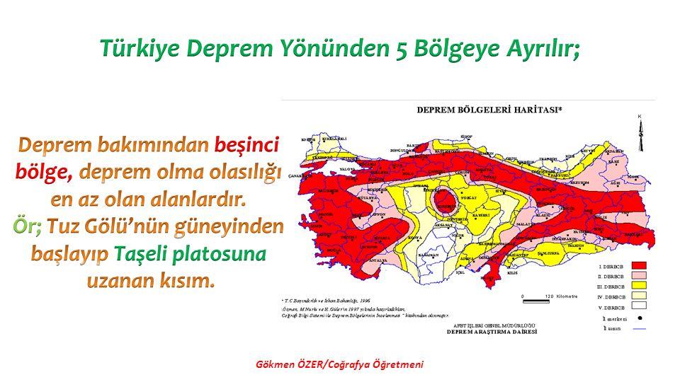 Türkiye Deprem Yönünden 5 Bölgeye Ayrılır;