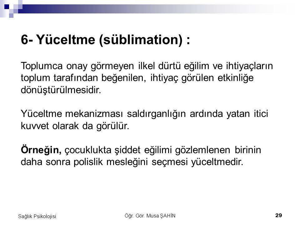 6- Yüceltme (süblimation) :