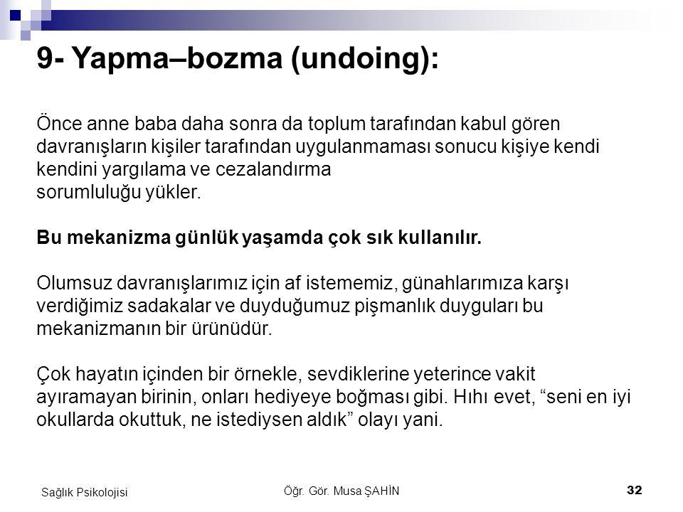 9- Yapma–bozma (undoing):