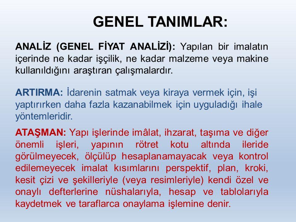 GENEL TANIMLAR: