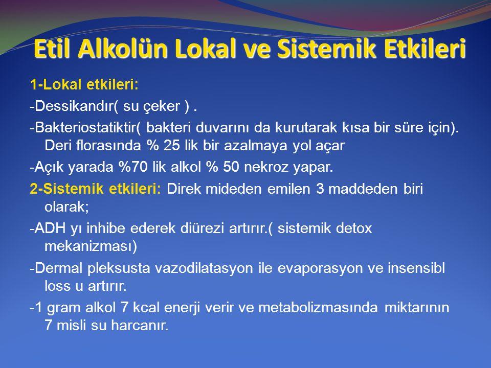 Etil Alkolün Lokal ve Sistemik Etkileri