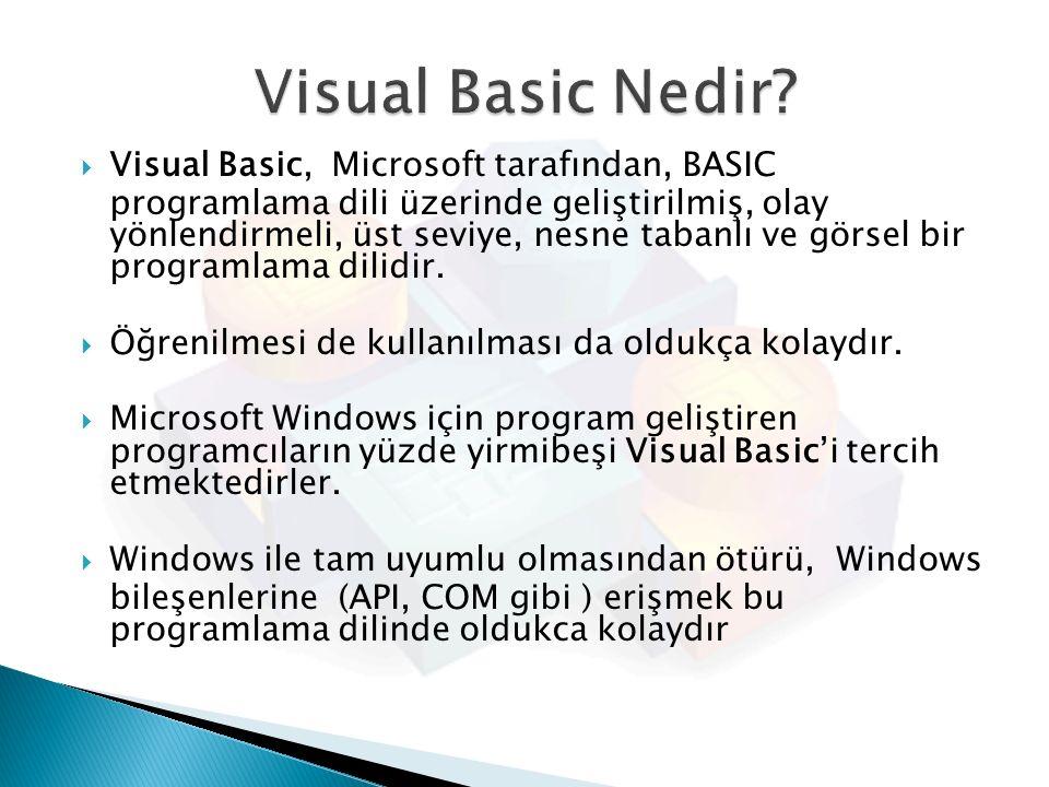 Visual Basic Nedir Visual Basic, Microsoft tarafından, BASIC
