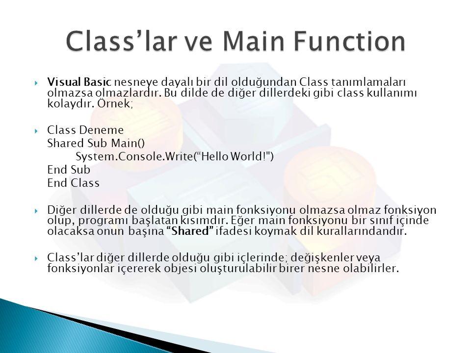 Class'lar ve Main Function