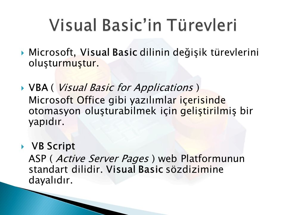 Visual Basic'in Türevleri