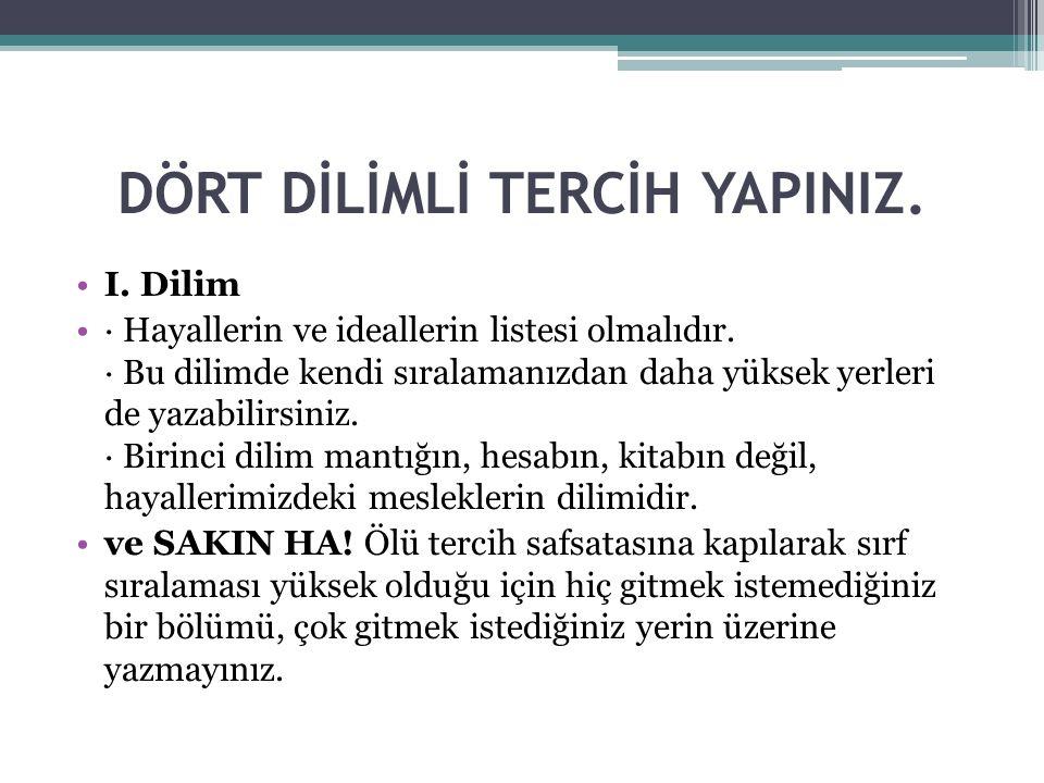 DÖRT DİLİMLİ TERCİH YAPINIZ.
