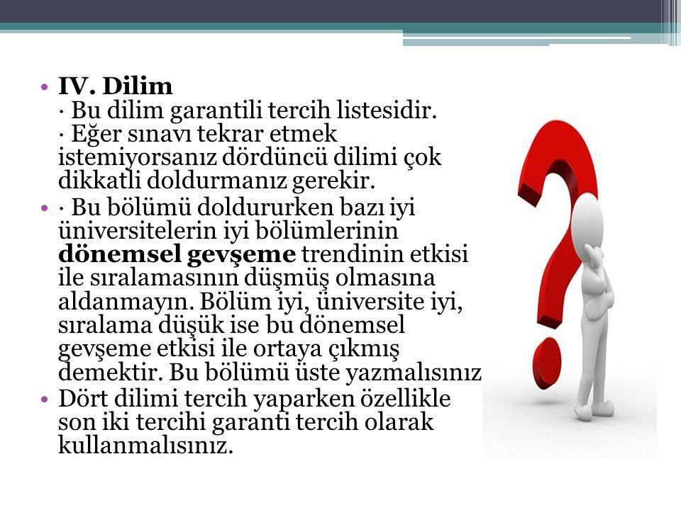 IV. Dilim · Bu dilim garantili tercih listesidir