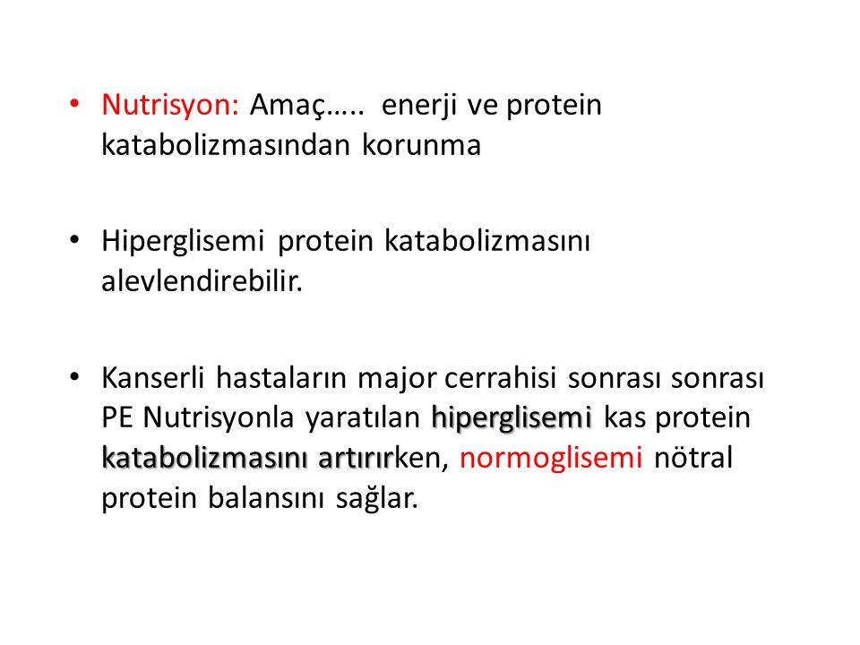 Nutrisyon: Amaç….. enerji ve protein katabolizmasından korunma