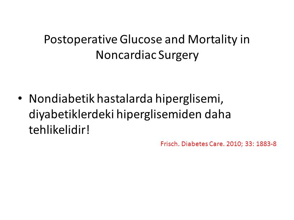 Postoperative Glucose and Mortality in Noncardiac Surgery