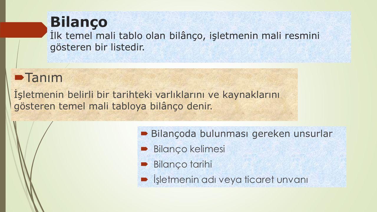 Bilanço İlk temel mali tablo olan bilânço, işletmenin mali resmini gösteren bir listedir.