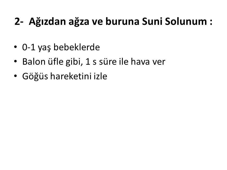 2- Ağızdan ağza ve buruna Suni Solunum :