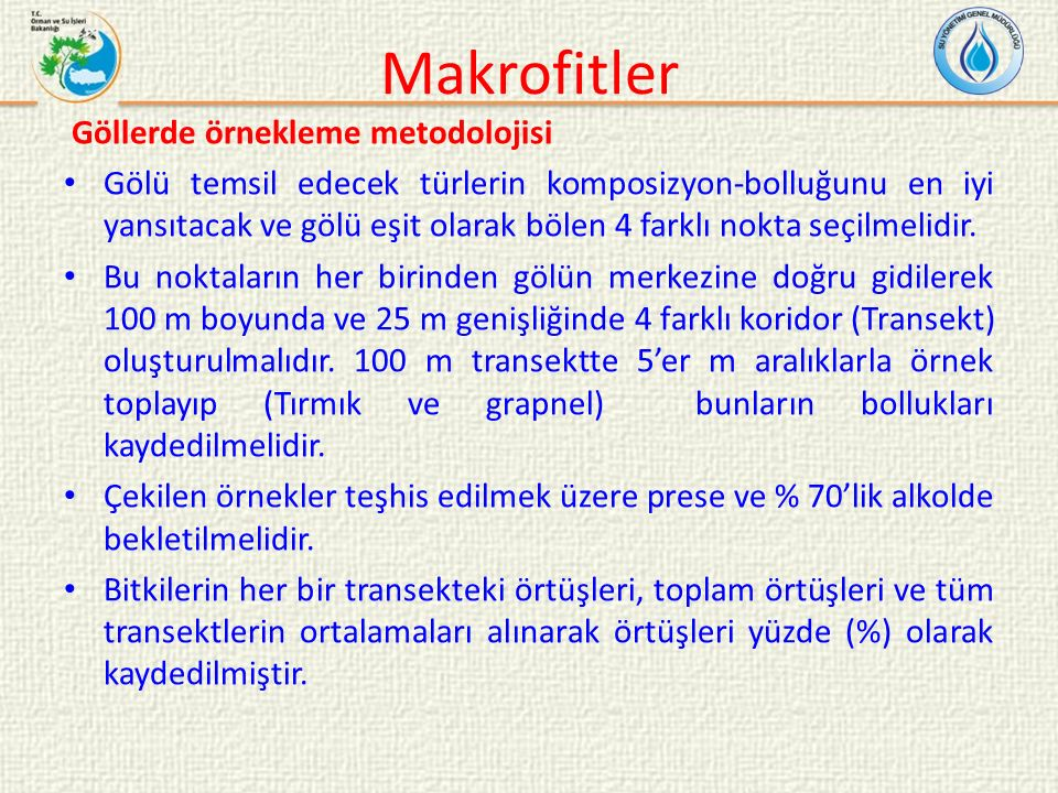 Makrofitler Göllerde örnekleme metodolojisi