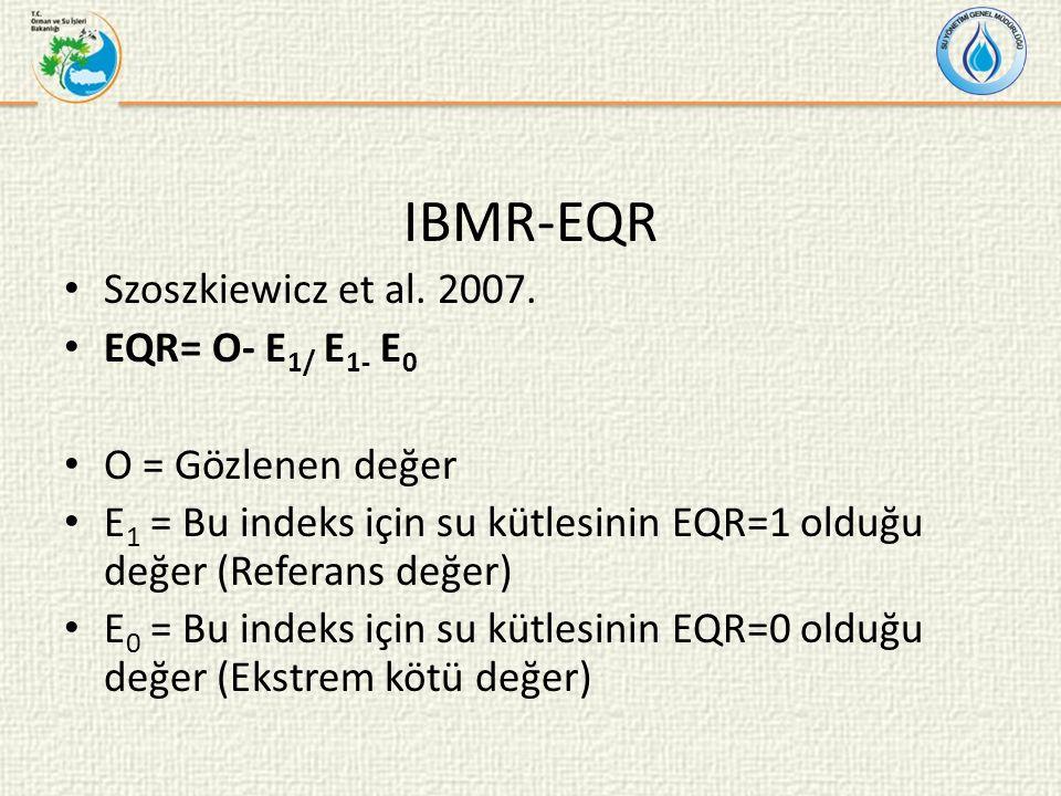 IBMR-EQR Szoszkiewicz et al. 2007. EQR= O- E1/ E1- E0