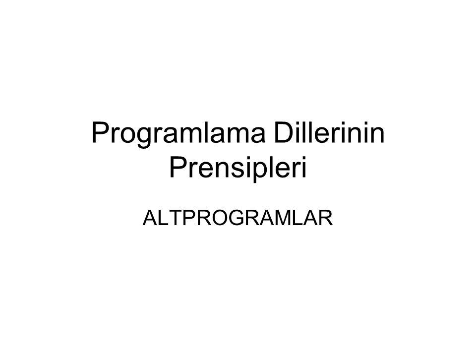 Programlama Dillerinin Prensipleri
