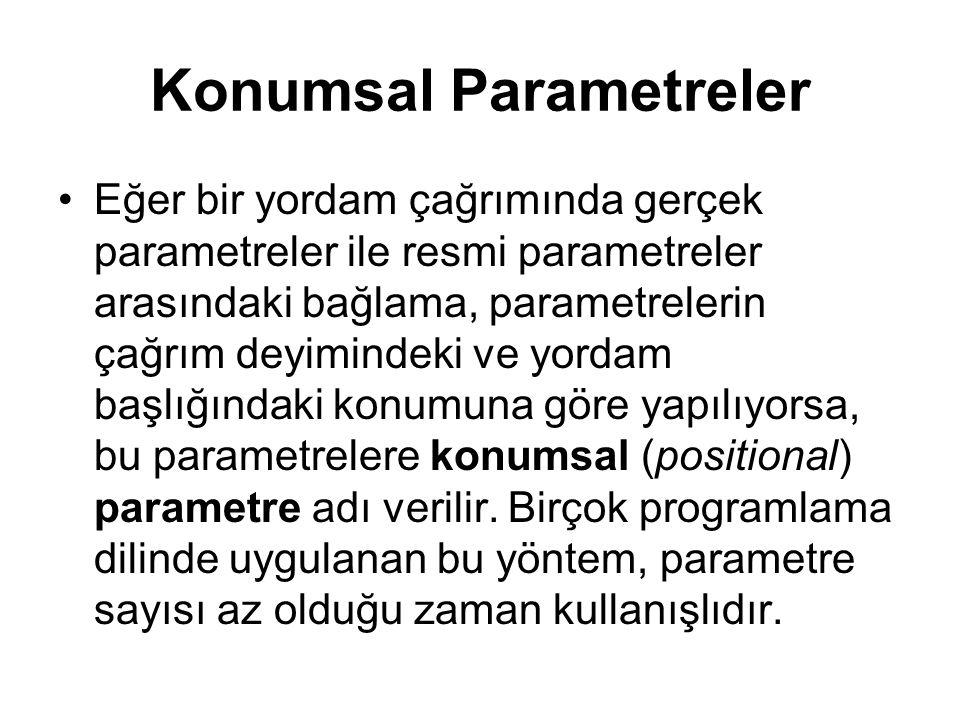 Konumsal Parametreler