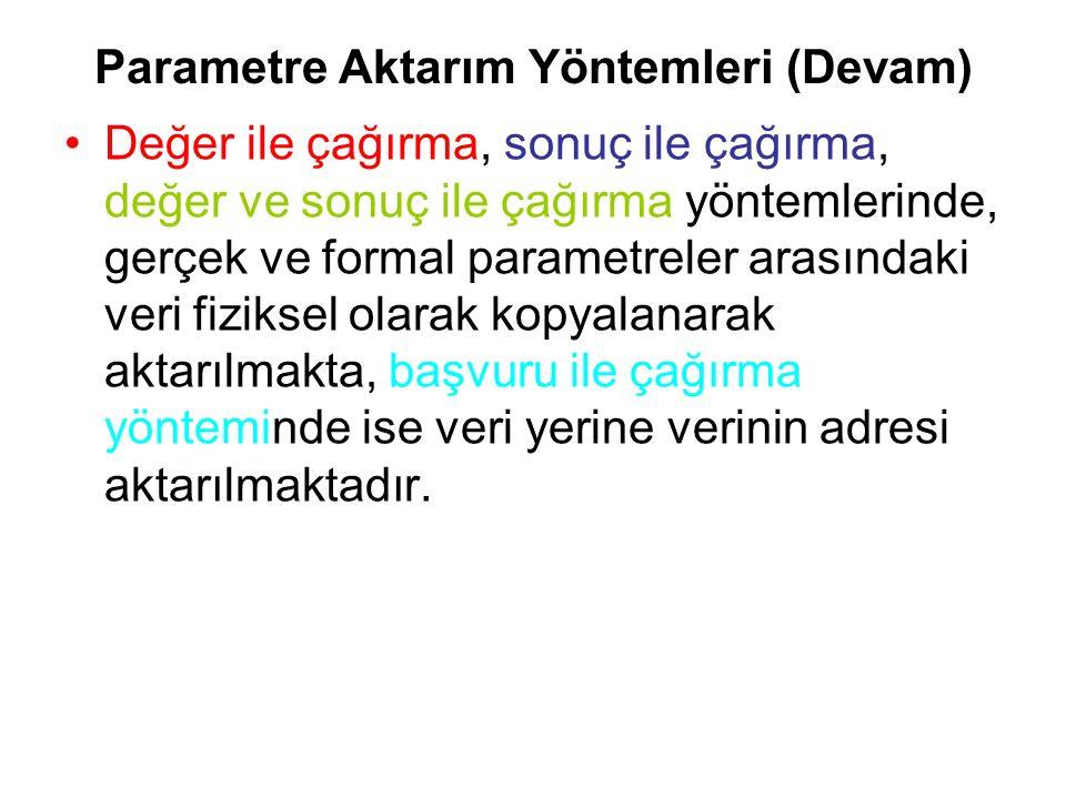 Parametre Aktarım Yöntemleri (Devam)