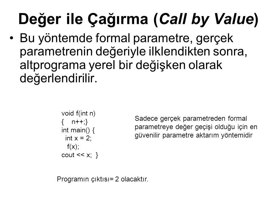 Değer ile Çağırma (Call by Value)