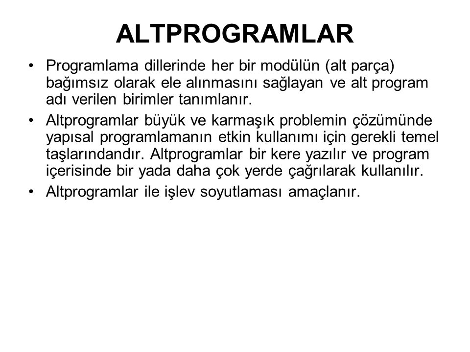 ALTPROGRAMLAR
