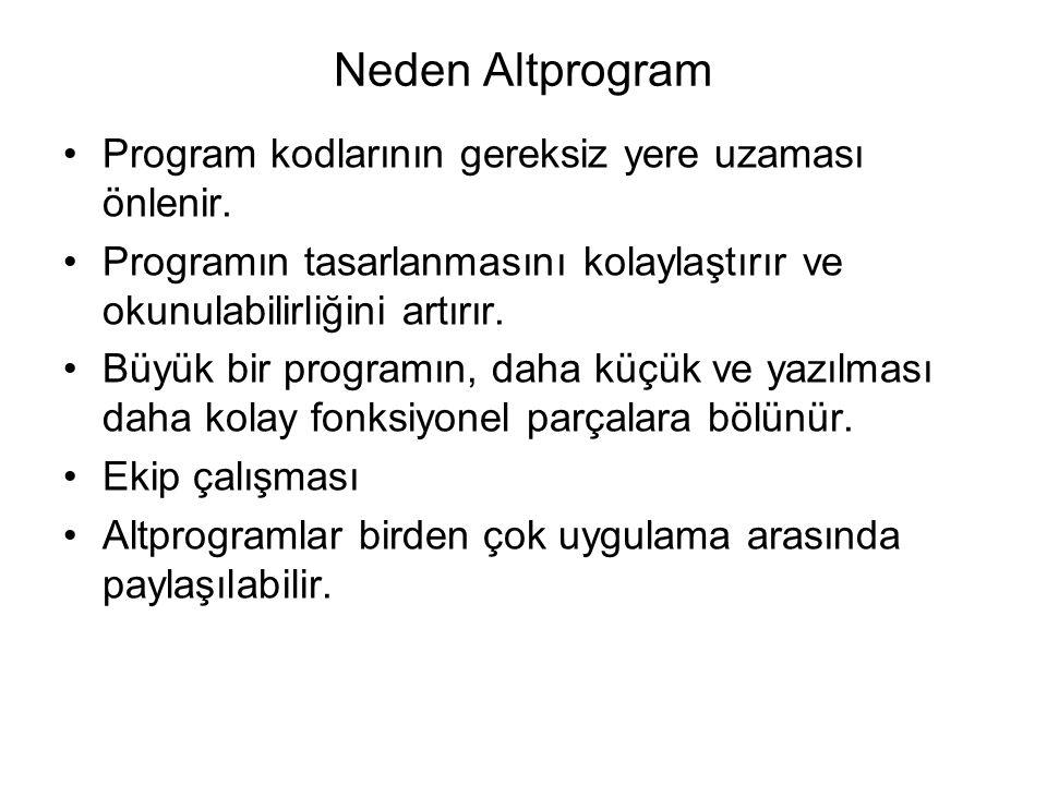 Neden Altprogram Program kodlarının gereksiz yere uzaması önlenir.