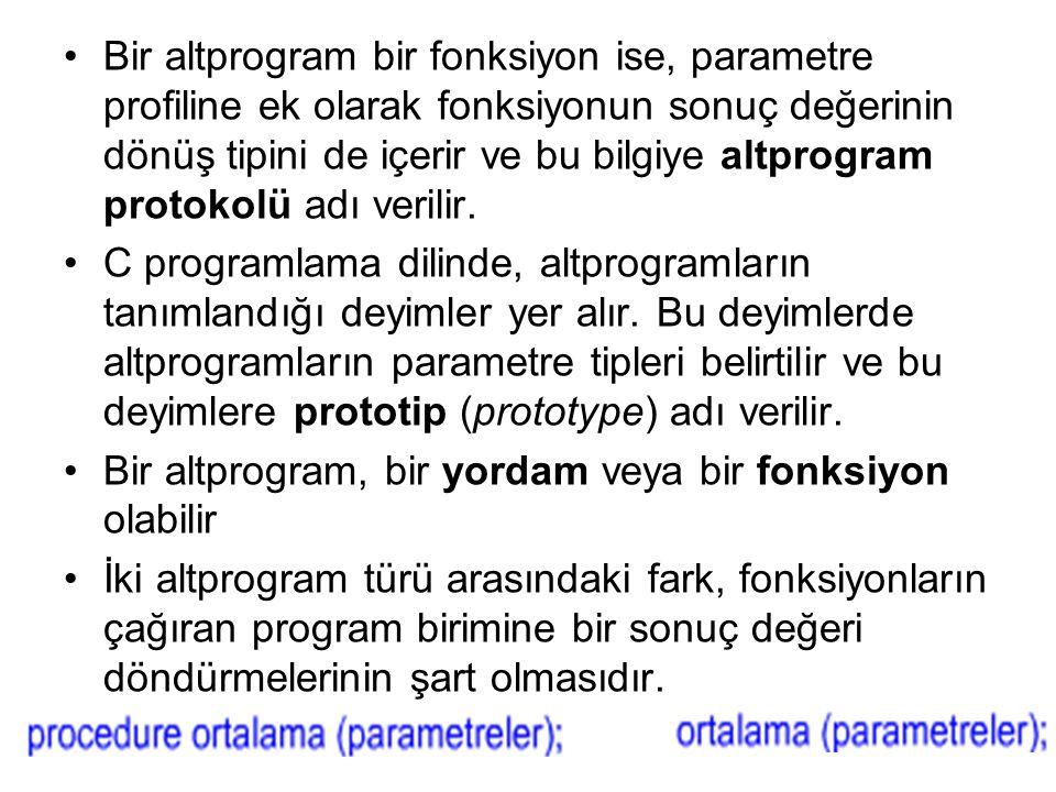 Bir altprogram bir fonksiyon ise, parametre profiline ek olarak fonksiyonun sonuç değerinin dönüş tipini de içerir ve bu bilgiye altprogram protokolü adı verilir.