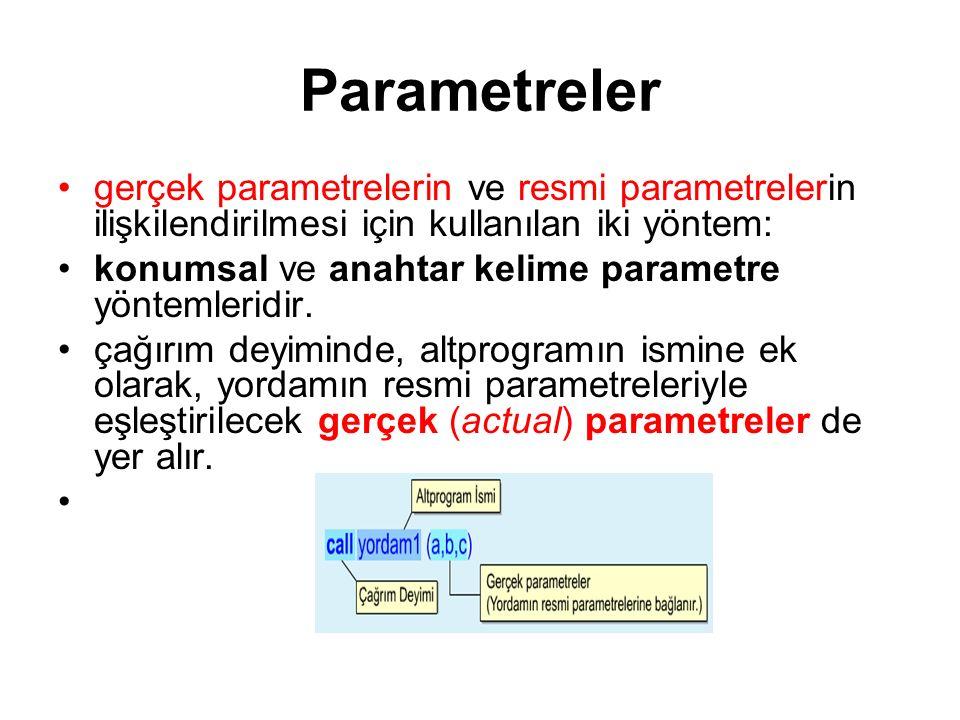 Parametreler gerçek parametrelerin ve resmi parametrelerin ilişkilendirilmesi için kullanılan iki yöntem: