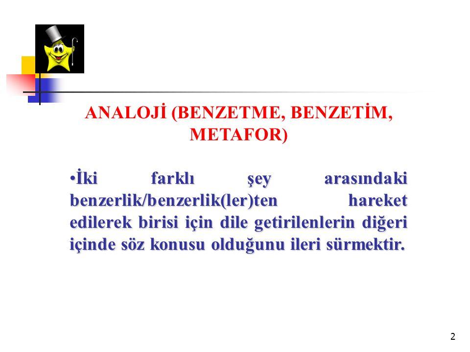 ANALOJİ (BENZETME, BENZETİM, METAFOR)
