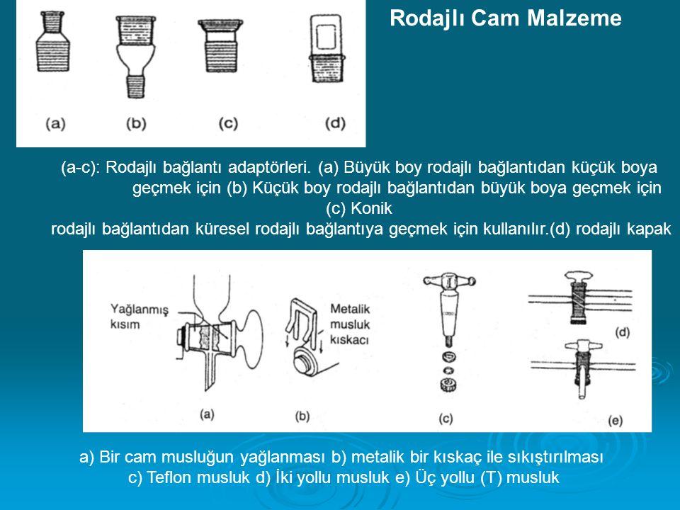 Rodajlı Cam Malzeme (a-c): Rodajlı bağlantı adaptörleri. (a) Büyük boy rodajlı bağlantıdan küçük boya.