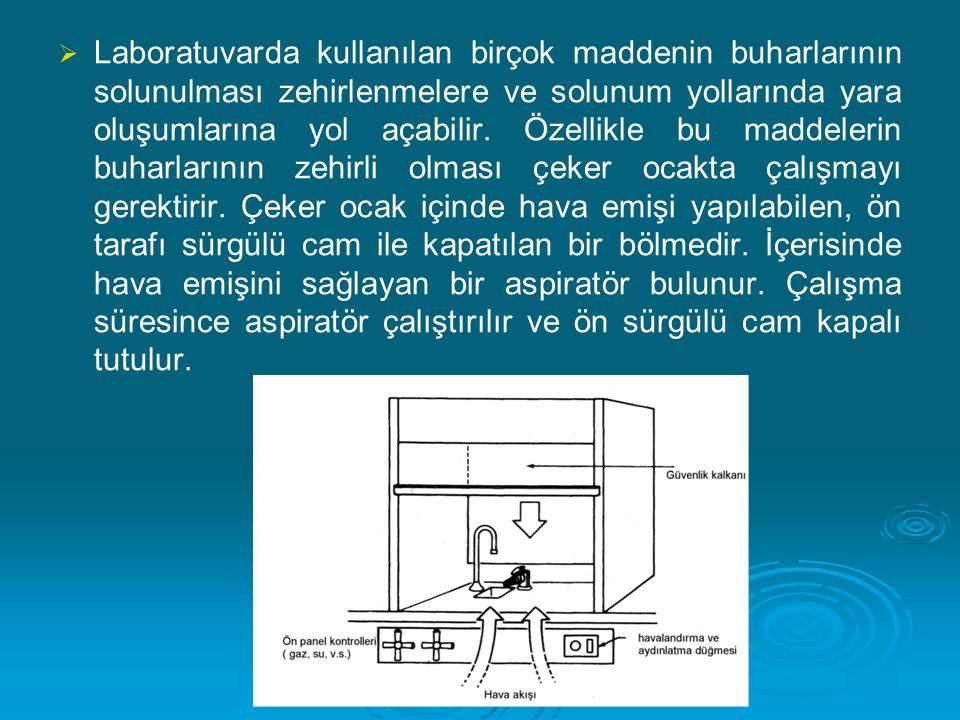 Laboratuvarda kullanılan birçok maddenin buharlarının solunulması zehirlenmelere ve solunum yollarında yara oluşumlarına yol açabilir.