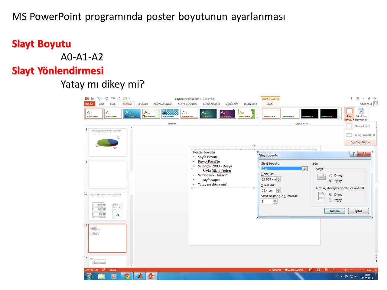 MS PowerPoint programında poster boyutunun ayarlanması