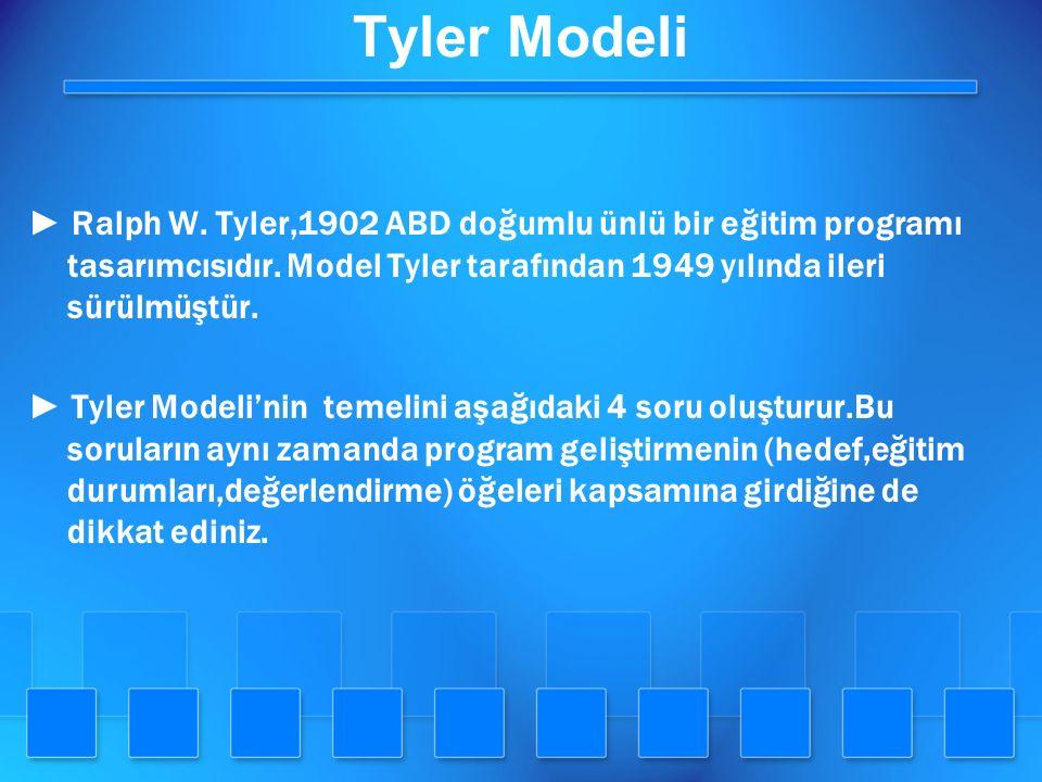 Tyler Modeli ► Ralph W. Tyler,1902 ABD doğumlu ünlü bir eğitim programı tasarımcısıdır. Model Tyler tarafından 1949 yılında ileri sürülmüştür.