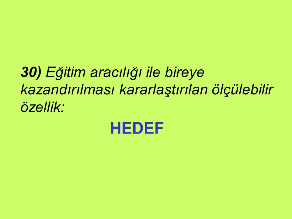 HEDEF 30) Eğitim aracılığı ile bireye