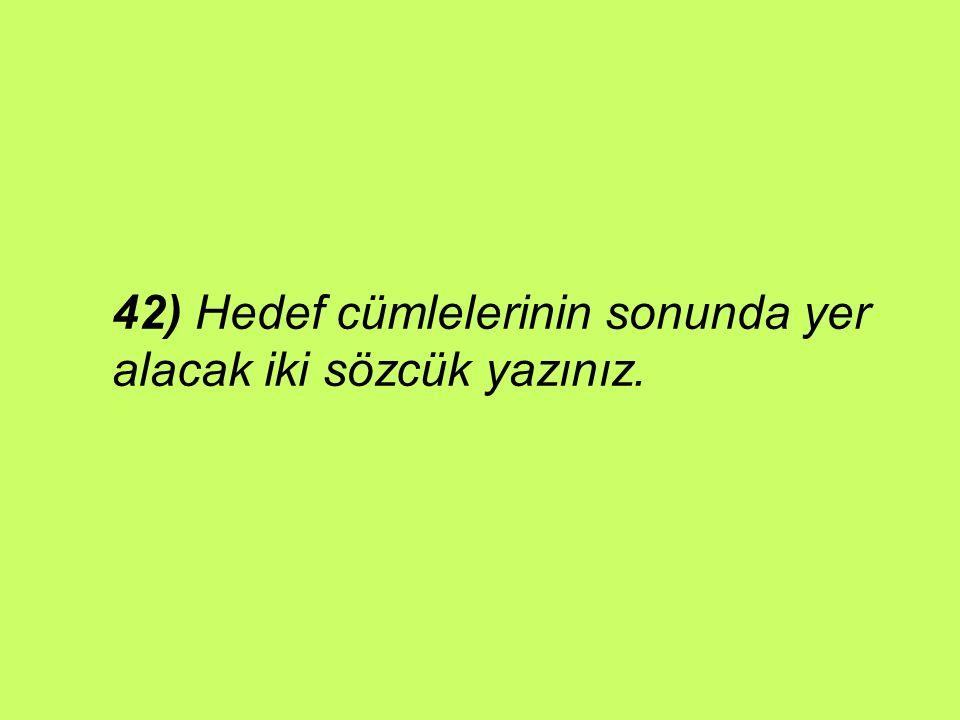 42) Hedef cümlelerinin sonunda yer