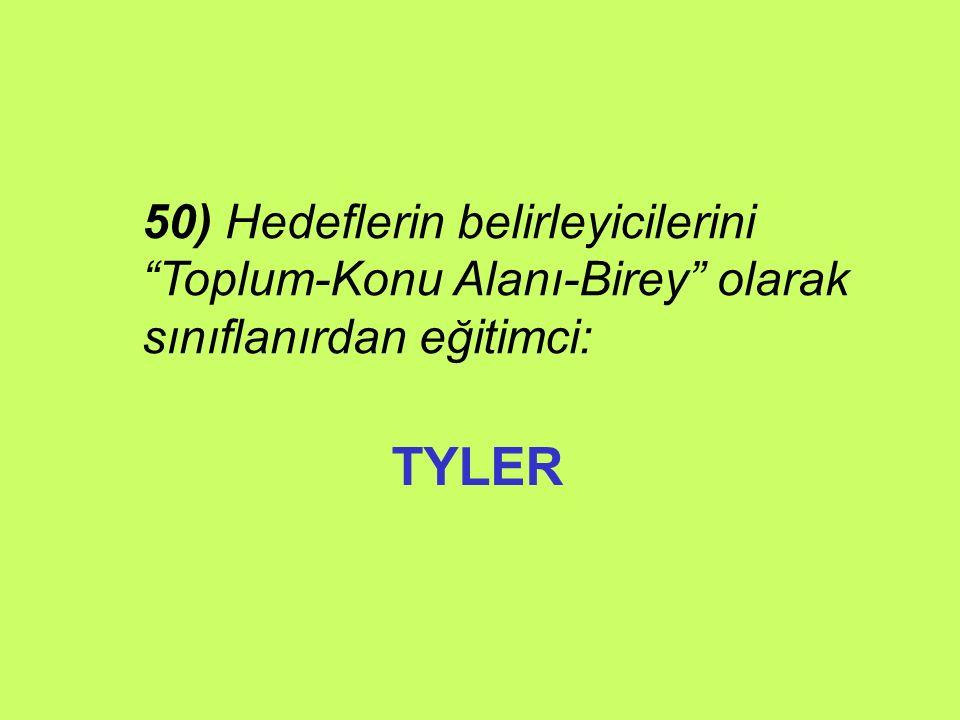 TYLER 50) Hedeflerin belirleyicilerini